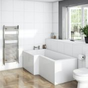 RRP £400. L shape shower bath LH 1700 x 850