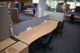 W1600x800 Hardwired Desk LH x3 & RH x2, Desk Screen Qty 3, Task Chair Qty 3 Footrest, Coat Stand