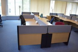 Hard Wired Corner Desks, Desk Screens, Chairs, Footrest, Coat Stand