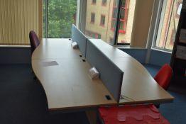 Hardwired Desk LH x2 & RH x2, W1600 Desk Screen Qty 2, Task Chair Qty 2, Footrest Qty 1