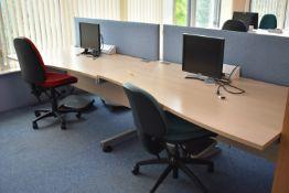 Hardwired Desk LH Qty 2 & RH Qty 2, W1600 Desk Screen Qty 2, Monitors Qty 3, Foot Rest Qty 3