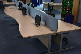 Hardwired Desk LH x3 & RH x3, W1600 Desk Screen x3, Task Chair x1, Pedestal Qty 1, Monitors Qty 6