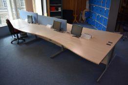 Hardwired Desk LH x3 & RH x3, Desk Screen x2, Task Chair, Footrest, Monitors x4, Step, Coat Stand