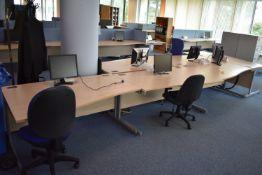 Hardwired Desk LH x2 & RH x4, Task Chair x3, Footrest x2, Monitors x6