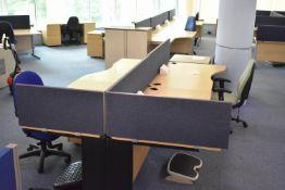 1600 wave desk hard wired LH & RH, desk screens, footrest, task chair, mobile pedestal