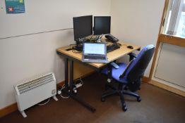 W1200x800 Desk Qty 1, 1000dia table Qty 1, Task chair Qty 1, visitor chair Qty 1