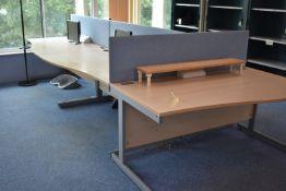Hardwired Desk LH x2 & RH x3, Desk Screen x3, Foot Rest x3, Monitors x4, Coat Stand