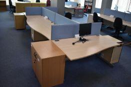 Hardwired Desk LH x3 & RH x3, Desk Screen, Task Chair, Pedestal, Low hinged door cabinet, Monitor