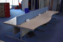 Hardwired Desk LH x3 & RH x3, W1600 Desk Screen Qty 3, Task Chair Qty 1, Footrest Qty 2
