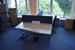 Corner Desk LH & RH, Wave Desk RH, Task Chair, Drawer filer, Footrest, Mobile Pedestal, Desk screen