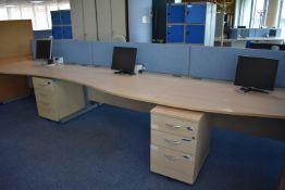 Hardwired Desk LH x4 & RH x3, Desk Screens Qty 4 Task Chair Qty 2, Pedestals Qty 2, Monitors Qty 7,