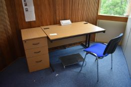 1200x800 hardwired desk qty 1, desk high pedestal qty 1, footrest qty 1 visitor chair qty 1