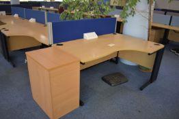 Hard wired Corner desk LH & RH, desk screen, footrest, task chair, coat stand, desk high pedestal