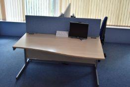 Hardwired Desk LH Qty 1 & RH Qty 2, Monitors Qty 2, Task Chairs Qty 1, Footrest Qty 1