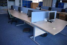 W1600x800 Hardwired Desk LH x4 x RH x3, Desk Screens x4 Task Chair x3, Footrest x2, Monitors x7