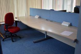 W1600x800 Hardwired Desk LH x2 & RH x2, W1600 Desk Screen Qty 2, Task Chair Qty 3. Coat Stand Qty 1