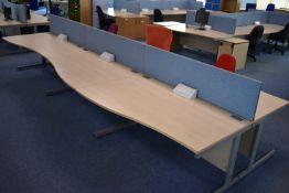 W1600x800 Hardwired Desk LH x3 & RH x3, W1600 Desk Screen Qty 3, Task Chair Qty 3.
