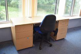 800x600 Desk qty 1, Desk high pedestal qty 2, task chair qty 1.