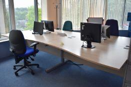 Hardwired Desk LH Qty 2 & RH Qty 2, Monitors Qty 4, Coat Stand Qty 1, Task Chairs Qty 3