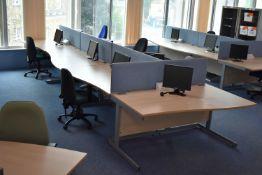 Hardwired Desk LH x3 & RH x4, W1600 Desk Screen Qty 4, Task Chair Qty 5, Monitors Qty 7
