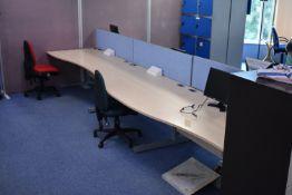 Hardwired Desk LH x3 & RH x3, Desk Screen x3, Task Chair x2, Footrest x3, Monitors x4, Step x1