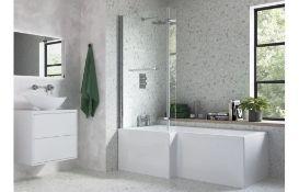 New (D39) Solarna 1700mm x 700mm 850mm Left Hand Shower Bath Nth. RRP £215.99. Solarna L Shap...