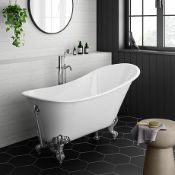 New (D8) 1600x660mm Traditional Roll Slim Top Slipper Bath - Chrome Feet. RRP £999.99. Bath ...