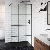 New (D17) 1000mm - 8mm Designer Black Shoji Crittall Style Shower Screen. RRP £539.99. Easycle...