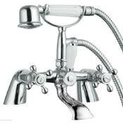 New (P90) Edwardian Traditional Chrome Bath Shower Mixer Tap Classic Ceramic Handle. This Edwa...
