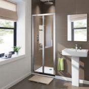 New (Q68) 760 mm - 8 mm - Premium Easy Clean Bifold Shower Door. RRP £379.99.Durability To Wit...