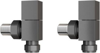 New 15 mm Standard Connection Square Angled Anthracite Radiator Valves. Ra03A. Complies W...