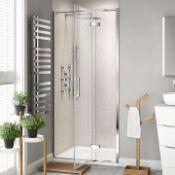 New & Boxed 700 mm - 8 mm - Premium Easy clean Hinged Shower Door. RRP £499.99. H82600Cp. 8 mm