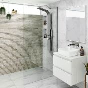 New (A165) 1100 mm - 8 mm - Designer Easy clean Wet room Panel. RRP £499.99.8 mm Easy clean Glass -
