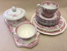 Pink and white ceramics set.