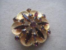 Vintage Paste Stone Circular Brooch