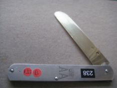 French Silver Hafted Silver-Gilt Bladed Folding Fruit Knife