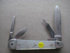 French Mother of Pearl Hafted Multi-Bladed Penknife