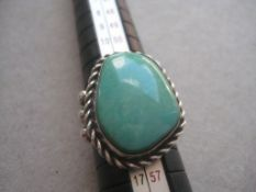 Vintage Turquoise Mounted Silver Ring
