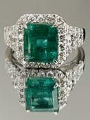 3.49 Carats Zambian Emerald With Natural Diamonds & 18k White Gold