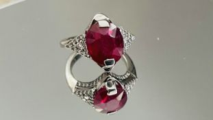 Beautiful 6.12ct Natural Burmese Ruby Ring With Diamonds And 18k White Gold