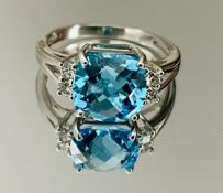 Beautiful Natural Blue Topaz Ring With Diamonds And 18k White Gold