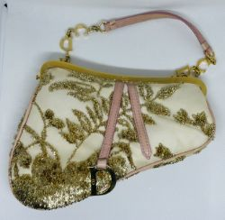 Dior Saddle MiniClutch Limited edition in gold coloured embroidery over cream satin