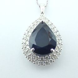 14K White Gold Diamond & Emerald Necklace