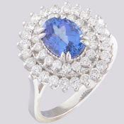 14K White Gold Cluster Ring 1.8 Ct. Tanzanite - 1.00 Ct. Diamond
