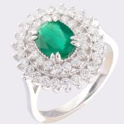 14K White Gold Cluster Ring 1.1 Ct. Natural Emerald - 1.00 Ct. Diamond