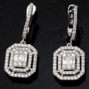 14 kt. White gold - Earrings - 1.14 Ct. Diamond