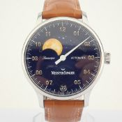 Meistersinger / Lunascope Blue Automatic GOLD MOON - Gentlmen's Steel Wrist Watch