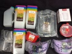 BRAND NEW STOCK 11x Mixed Items To Inc Peg Caddy, Brownie Tin, Coffee Beaker, Microwave Bowl, ect
