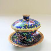 Vintage Cloisonne Miniature Lidded Pot and Saucer