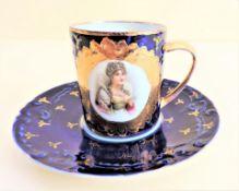 Antique French Porcelain Cup and Saucer Empress Josephine Bonaparte